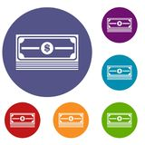 Stack of dollars icons set. In flat circle reb, blue and green color for web Royalty Free Stock Photos