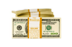 Stack of dollars isolated Royalty Free Stock Photo