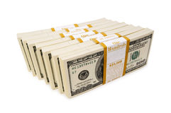Stack of dollars isolated Stock Photos