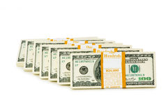 Stack of dollars isolated Stock Images