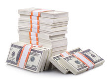 Stack of dollars. Isolated on a white background Stock Photo