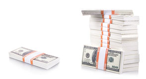 Stack of dollars. Isolated on a white background Royalty Free Stock Photos