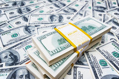 Stack of dollars on money Royalty Free Stock Photo