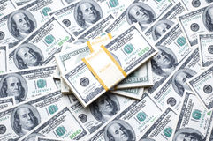 Stack of dollars on money Royalty Free Stock Photos