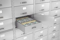 Stack of Dollars in Opened Bank Safe Deposit Box. 3d Rendering. Stack of Dollars in Opened Bank Safe Deposit Box extreme closeup. 3d Rendering Royalty Free Stock Photography