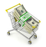 Stack of dollars in the shopping cart. Stock Image