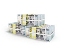 Stack of dollars three packs in front 3d render on white background with shadow vector illustration