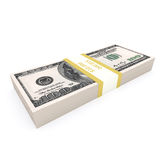 Stack of 100 dollars USA on white background. Financial concept vector illustration