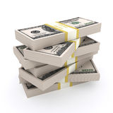 Stack of 100 dollars USA on white background. Stock Image