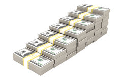 Stack of 100 dollars USA on white background. Stock Photography