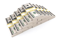 Stack of 100 dollars USA on white background. Financial concept Stock Image
