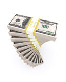 Stack of 100 dollars USA on white background. Royalty Free Stock Photos