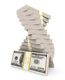 Stack of 100 dollars USA on white background. Royalty Free Stock Photo