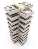 Stack of 100 dollars USA on white background. Royalty Free Stock Images