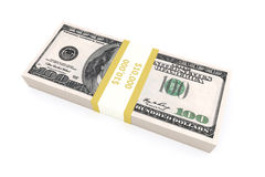 Stack of 100 dollars USA on white background. Royalty Free Stock Photography