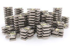 Stack of 100 dollars USA on white background. Stock Images