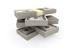 Stack of 100 dollars USA on white background. Financial concept Royalty Free Stock Images