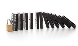 Stack of dominoes falling Royalty Free Stock Images