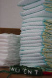 Stack of dotted diapers royalty free stock photo
