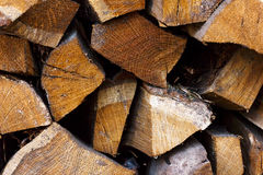 Stack of dried firewood of pine wood Stock Images