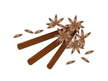 Stack of Dried Star Anise and Cinnamon Sticks Stock Photos