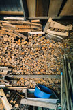 Stack of dry firewoods indoor Royalty Free Stock Image
