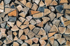 Stack of dry firewoods indoor Stock Photography