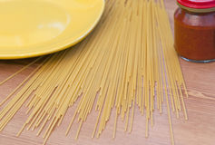 Stack of dry wholewheat spaghetti pasta. Royalty Free Stock Image
