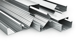 Stack of drywall metal profiles. 3d illustration Royalty Free Stock Photography