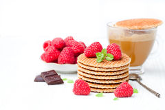 Stack  of Dutch caramel waffles with fresh raspberry and cup of. Coffee Royalty Free Stock Photos