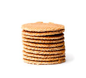 Stack  of Dutch  caramel waffles isolated Royalty Free Stock Photos