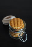 Stack of dutch waffles with caramel Royalty Free Stock Photo