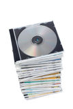 Stack of dvd's and cd's Royalty Free Stock Images