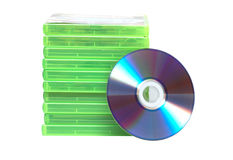 Stack of dvd's and cd's Stock Photos