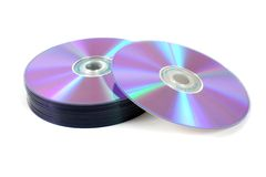Stack of dvds 2. Dvds or cds on white background Stock Images