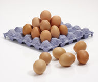 Stack of eggs in tray. Royalty Free Stock Photo