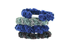 A stack of elastic head dressing, hair ties in blue and black Stock Image