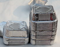 Stack of empty aluminum bowls Royalty Free Stock Photography