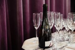 Empty Champagne glasses restaurant Royalty Free Stock Photos