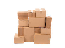 Stack of empty closed boxes. On a white background Royalty Free Stock Images
