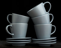 Stack of Empty Espresso Cups and Saucers Royalty Free Stock Photos
