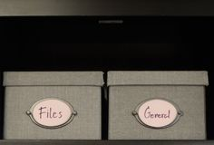 Stack of Office Storage Boxes on Shalf Royalty Free Stock Image