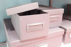 Stack of Office Storage Boxes on Shalf Royalty Free Stock Photo