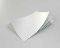Stack empty white sheets of A4 paper with one deflected corner. 3d rendering.  Royalty Free Illustration