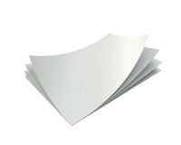 Stack empty white sheets of A4 paper. With one deflected corner. 3d rendering Royalty Free Stock Image