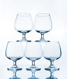 Stack of empty wine glass Royalty Free Stock Photo