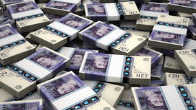 Stack of English Pound stock footage