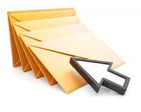 Stack of envelopes and arrow cursor Royalty Free Stock Image