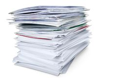 Stack of Envelopes / Files / Documents. Bills stack envelopes isolated mails files documents royalty free stock photography