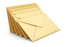 Stack of envelopes. On white background. 3d rendering illustration royalty free illustration